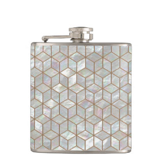 Mother Of Pearl Tiles Hip Flask
