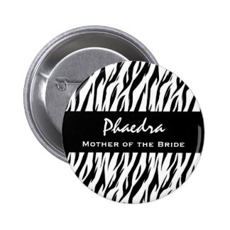 Mother of the Bride Black and White Zebra Gift 6 Cm Round Badge
