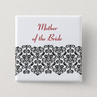 MOTHER OF THE BRIDE Black Damask Lace V03 15 Cm Square Badge