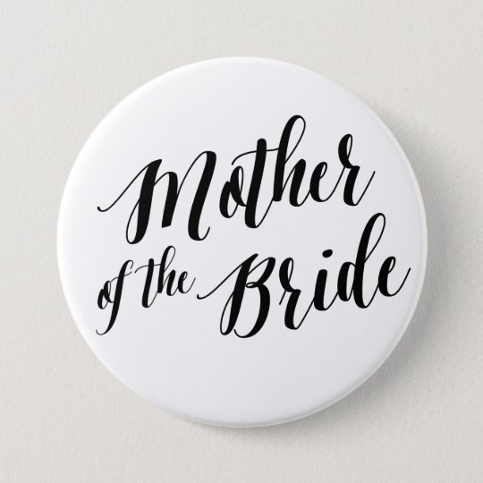 Mother of the Bride Black Script Button