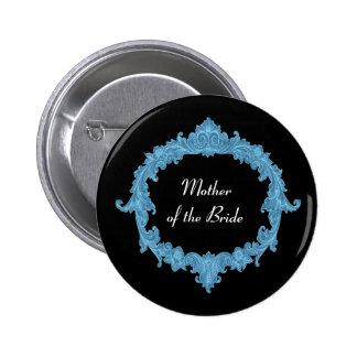 MOTHER OF THE BRIDE Blue Black Vintage V14 Pinback Button