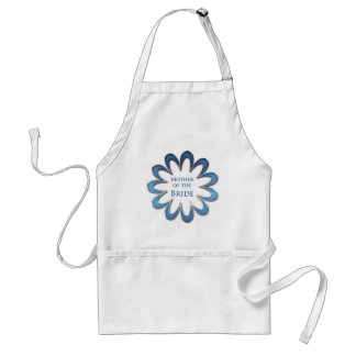 Mother of the Bride Blue Flower & Silver Outline Adult Apron