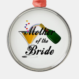 Mother Of The Bride Champagne Toast Silver-Colored Round Decoration