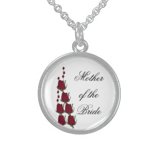 Mother of the Bride Classic Red Rose Wedding Gift Round Pendant Necklace