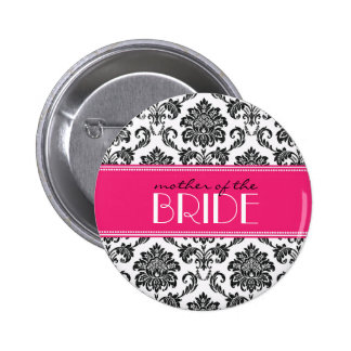 Mother Of The Bride Damask Button in Fuchsia