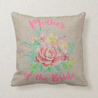 Mother of the Bride Floral Watercolor Burlap Cushion