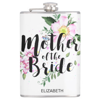 Mother of the Bride Floral Watercolor Wedding Hip Flask