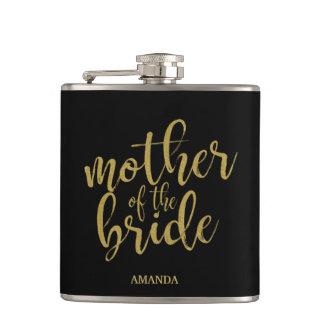 Mother of the Bride Gold Glitter Bridal Shower Hip Flask