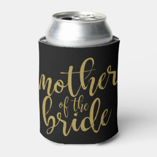 Mother of the Bride Gold Glitter Calligraphy Can Cooler