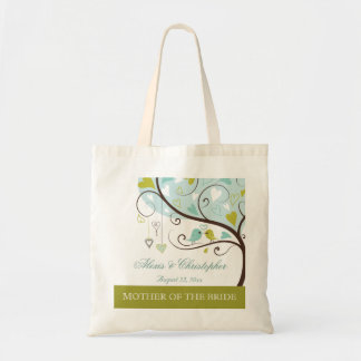 Mother of the bride green & blue love birds favour budget tote bag