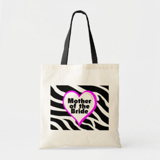 Mother of the Bride (Heart Zebra Stripes) Budget Tote Bag
