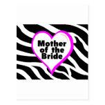 Mother of the Bride (Heart Zebra Stripes) Postcard