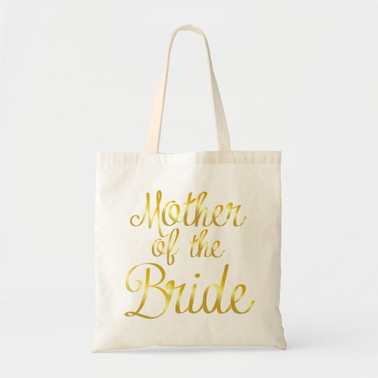 Mother of the Bride in Gold Cursive Tote