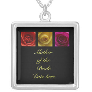 Mother of the Bride Necklace - Roses pink yellow o