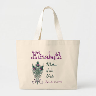 Mother of the Bride Peacock Feather Teal Purple Jumbo Tote Bag