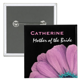 Mother of the Bride Pink Daisy Wedding 15 Cm Square Badge