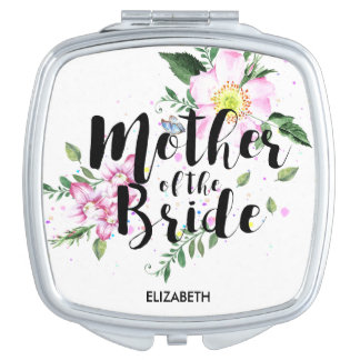Mother of the Bride Pink Floral Watercolor Wedding Travel Mirror