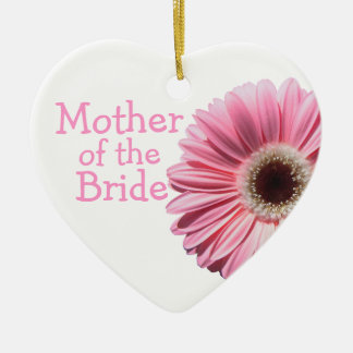 Mother of the Bride Pink Gerbera Daisy Ceramic Heart Decoration