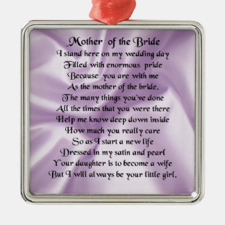 Mother of the Bride Poem  -  Lilac Silk Design Silver-Colored Square Decoration