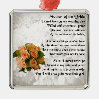 Mother of the Bride Poem  -  Peach Roses Christmas Ornament