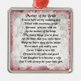 Mother of the Bride Poem - Pink Floral Design Silver-Colored Square Decoration