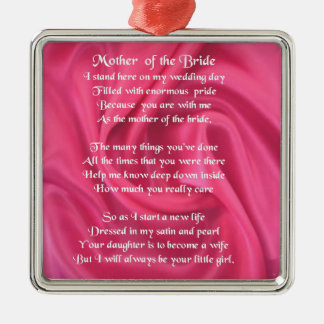 Mother of the Bride Poem - Pink Silk Christmas Ornament