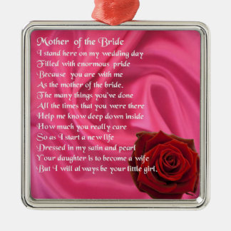 Mother of the Bride poem -  Pink Silk & Rose Silver-Colored Square Decoration