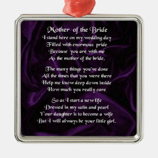 Mother of the Bride Poem - Purple Silk Silver-Colored Square Decoration