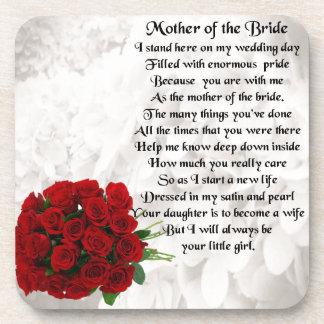 Mother of the Bride Poem - Red Roses Beverage Coaster