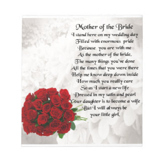 Mother of the Bride Poem - Red Roses Notepad