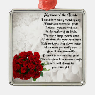 Mother of the Bride Poem - Red Roses Silver-Colored Square Decoration