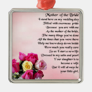 Mother of the Bride Poem -  Roses Silver-Colored Square Decoration