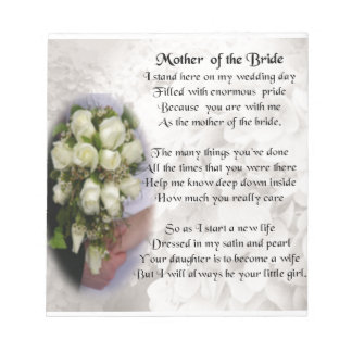 Mother of the Bride Poem - Wedding Bouquet 2 Notepads