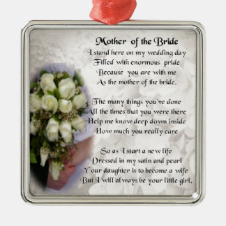 Mother of the Bride Poem - Wedding Bouquet 2 Silver-Colored Square Decoration