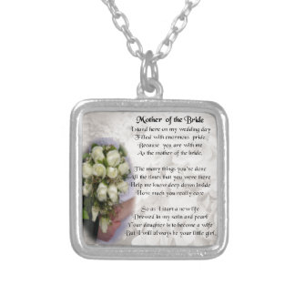 Mother of the Bride Poem - Wedding Bouquet 2 Silver Plated Necklace