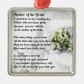 Mother of the Bride Poem   Wedding Bouquet Design Silver-Colored Square Decoration