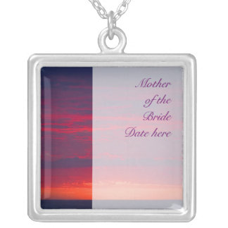 Mother of the Bride Purple Sunset Wedding Silver Plated Necklace