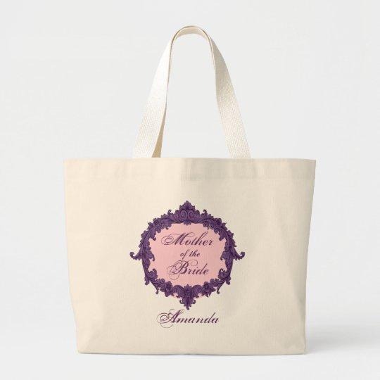 Mother of the Bride PURPLE Vintage Custom Name V01 Large Tote Bag