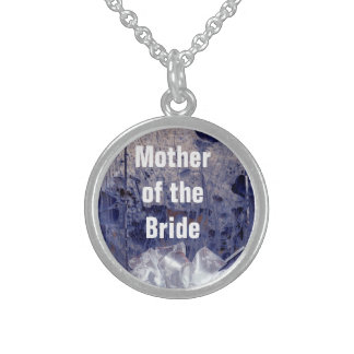 Mother of the Bride Rustic Blue Gift Round Pendant Necklace