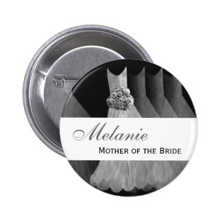MOTHER OF THE BRIDE Silver Gowns V1 6 Cm Round Badge