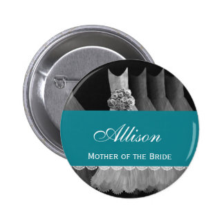 MOTHER OF THE BRIDE Silver Gowns V1B1 6 Cm Round Badge
