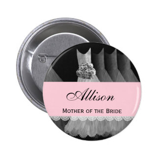 MOTHER OF THE BRIDE Silver Gowns V1B 6 Cm Round Badge