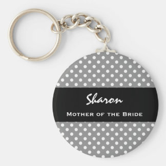 MOTHER OF THE BRIDE Silver Polka Dot Gift Item Basic Round Button Key Ring