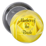 Mother of the Bride, Yellow Rose Pinback Button