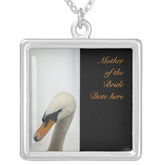Mother of the Brides White Swan Wedding Silver Plated Necklace
