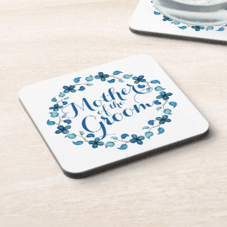 Mother of the Groom Blue Floral Wedding Coaster