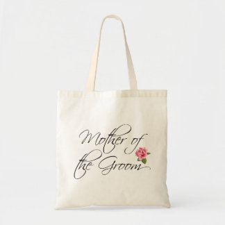 Mother of the Groom Calligraphy and Rose Tote Bag