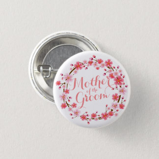 Mother of the Groom Cherry Blossom Wedding Button