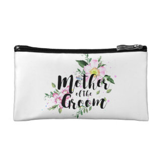 Mother of the Groom Floral Watercolor Wedding Cosmetic Bag