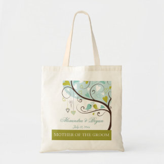 Mother of the groom green & blue love birds favor budget tote bag